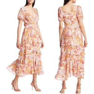 ML Monique Lhuillier Chiffon Floral Midi Dress